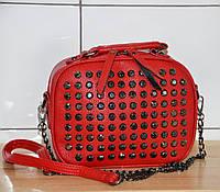 0bff6290d6a9 Красная женская сумка с камнями, на плечо с цепочкой, новинка 2019