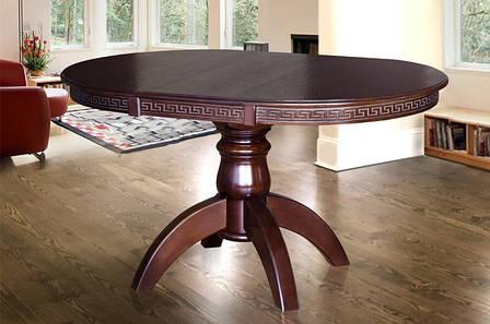 Раскладной стол для кухни круглый Престиж Микс мебель, цвет темный орех, фото 2