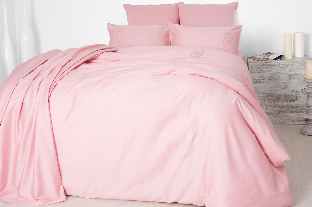 Постельное белье cатин евро Турецкий вензель розовый