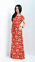 Длинное женское платье с цветочным узором красное, фото 1