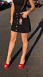 Черная джинсовая юбка на пуговицах спереди, фото 3