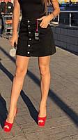 Черная джинсовая юбка на пуговицах спереди