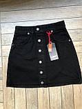 Черная джинсовая юбка на пуговицах спереди, фото 2