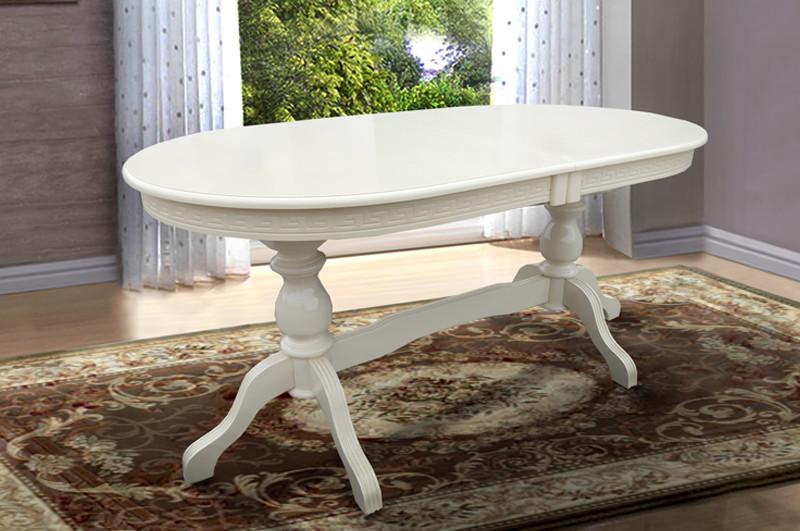 Стол обеденный Оскар Люкс Микс мебель, цвет  слоновая кость /  белый