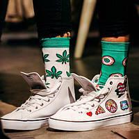 """Разнопарные яркие высокие носки """"Марихуана"""""""