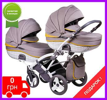 Детская коляска универсальна 2в1 для двойни Tako(Junama) ChessDUO 01 серый(лён)вставка кожа ДОСТАВКА