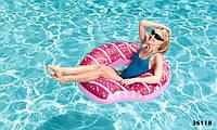 Надувной круг пончик розовый с присыпкой 107 см Bestway, фото 1
