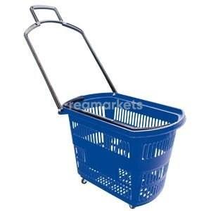 Корзины покупательские б/у на 4 колесах с одной складывающейся ручкой Синие 32л
