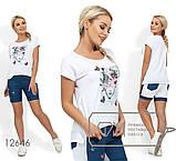Костюм - футболка с нашивкой, стразами и жемчужинами, шорты на половину из джинса Размеры: S, M, L, фото 2