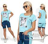 Костюм - футболка с нашивкой, стразами и жемчужинами, шорты на половину из джинса Размеры: S, M, L, фото 3