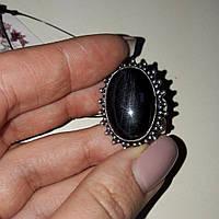 Питерсит соколиный глаз кольцо овальное с натуральным питерситом в серебре 17,5-18 размер Индия, фото 1