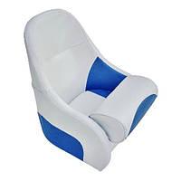 Кресло сиденье серо-синее для лодки и катера Flip-up с крепежной пластиной AquaL 13126