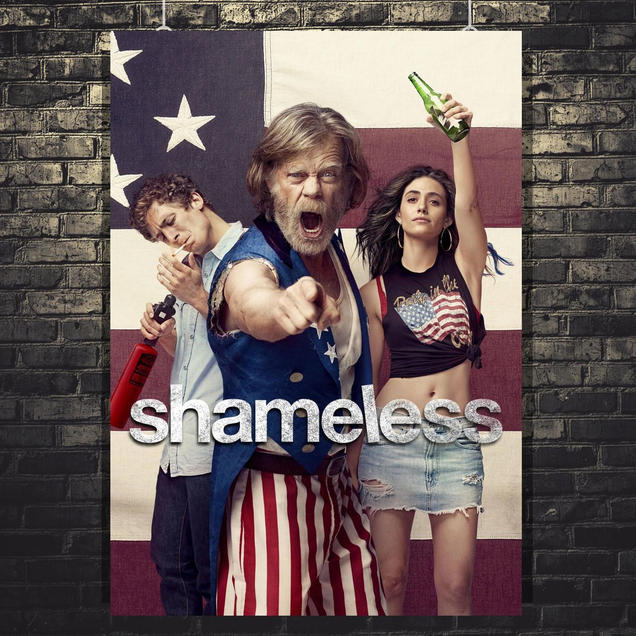 Постер Shameless, Бесстыжие, сериал. Размер 60x42см (A2). Глянцевая бумага