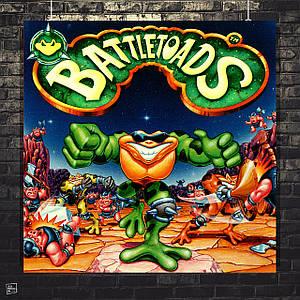 Постер Battle Toads, плакат ретроигры для Сега. Размер 60x60см (A1). Глянцевая бумага