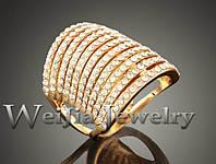 Позолоченное кольцо женское с австрийскими кристаллами р 17 код 680
