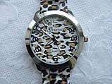 Часы женские Geneva - серебряный леопард, фото 3