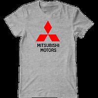 Футболка с печатью принта логотип Mitsubishi Motors