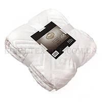 Белый плед полуторный микрофибра на диван C-0037, Белый, 150х200