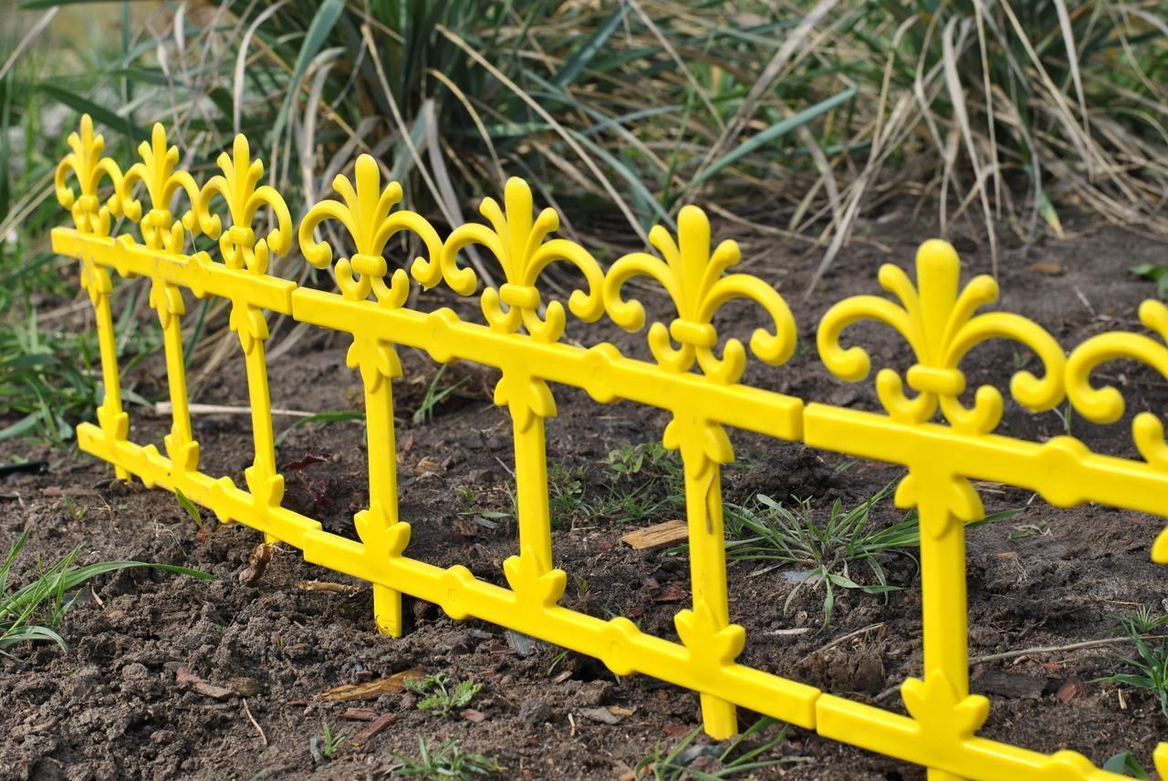 "Забор декоративный ""Ажур"" набор 4 шт. желтый"