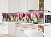 "Кухонный фартук Zatarga""Тюльпаны"" 600 х 2500 мм розовый"