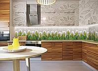 Кухонный фартук Тюльпаны 01 (наклейка на стену, виниловая наклейка декор для кухни, цветы, белые тюльпаны)