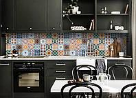 "Скинали на кухню Zatarga""Орнамент 02"" 600х2500 мм синий виниловая 3Д наклейка кухонный фартук самоклеящаяся"