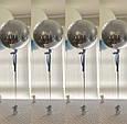 """Фольгований куля сфера 4D, срібло 32""""/80 див., фото 3"""