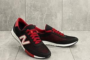 Кроссовки мужские Brand M 22 черный-красный (текстиль, лето)