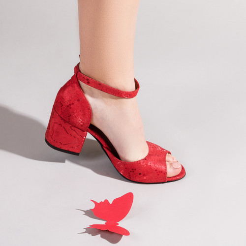 Босоножки женские кожаные красные на каблуке, с закрытой пяткой. Размер 36-41