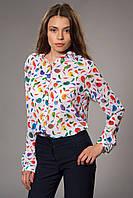 Женская блуза-рубашка шифоновая с принтом. Цвет молочный. Код модели Б-11-32-15.