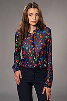 Женская блуза-рубашка шифоновая с принтом. Цвет синий. Код модели Б-11-32-15.