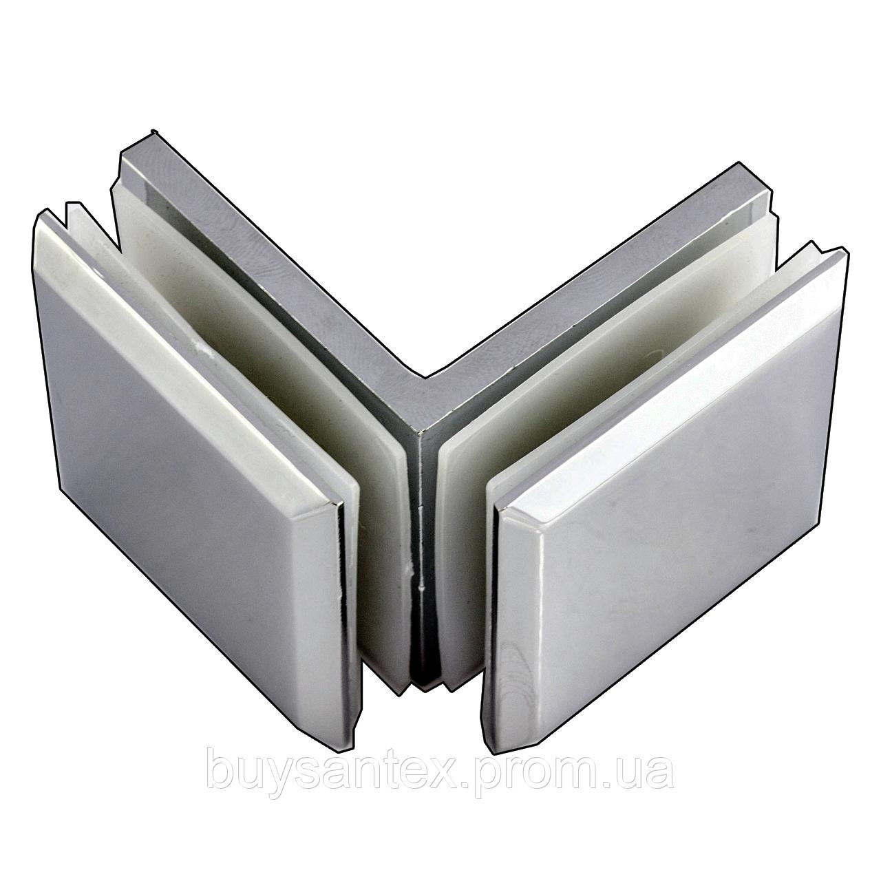 Крепление стекло-стекло 90° К902 хром 45х45