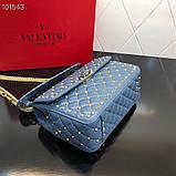 Сумка, клатч от Валентино Rockstud 23 и 30 см кожаная реплика в синем, фото 6
