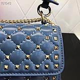 Сумка, клатч от Валентино Rockstud 23 и 30 см кожаная реплика в синем, фото 4