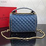 Сумка, клатч от Валентино Rockstud 23 и 30 см кожаная реплика в синем, фото 7