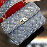 Сумка, клатч от Валентино Rockstud 23 и 30 см кожаная реплика в синем, фото 5