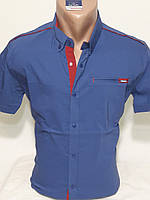 Рубашка мужская с коротким рукавом vk-175-8 Vip Stendо синяя приталенная стрейч коттон
