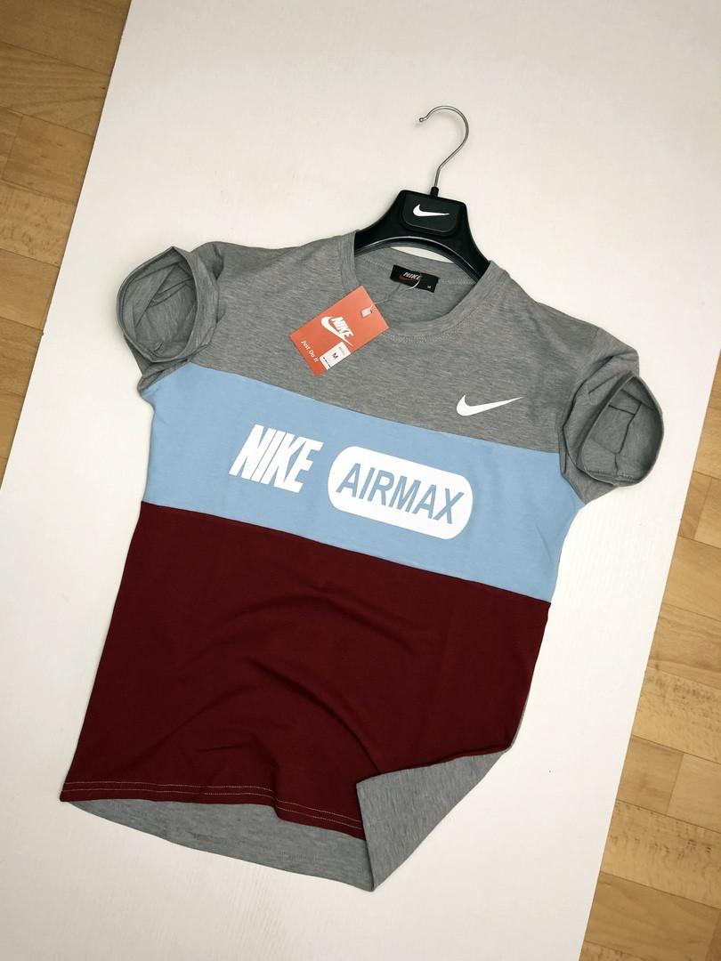 Мужская футболка Nike Air Max серая с голубым и бордовым. Живое фото. Топ качество