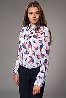 Женская блуза-рубашка шифоновая с принтом. Код модели Б-11-32-15.