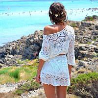 Пляжное платье туника, кружевное платье