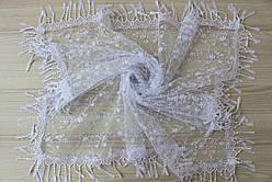Хустка біла фатинова ажурна святкова 230-13
