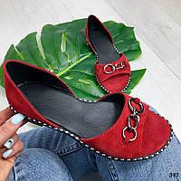 Балетки Giardine красные. Натуральный замш, фото 1