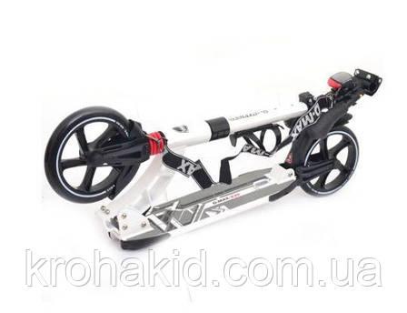 Самокат SR 2-014 складной: Белый алюминий, 2 колеса, ПУ230/200мм, регулир.руль 95/103см, лампа, фото 2