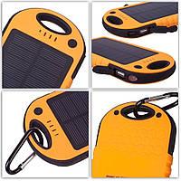 Power bank 12000mAh Orange с солнечной батареей,прорезиненный корпус,2xUSB, фото 1