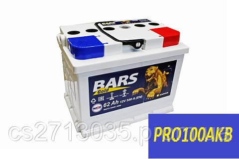 Автомобильный аккумулятор Bars gold 62 Ач 550 А (0) L+