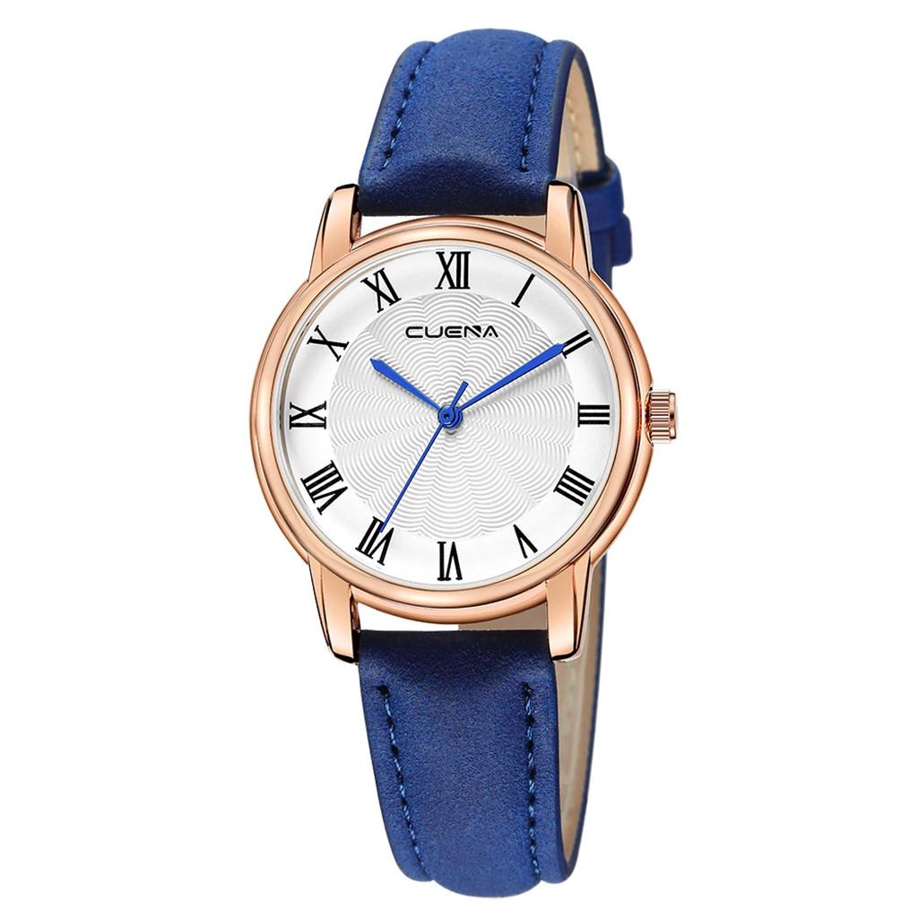 Синие женские наручные часы с белым римским циферблатом 34мм | 83655