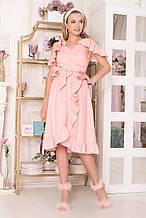 39a086e3dfe Стильное женское платье хлопковое AZ-143 персиковое
