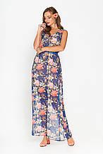 9003105cc60 Шифоновое длинное платье S-89 - синее с цветочным принтом