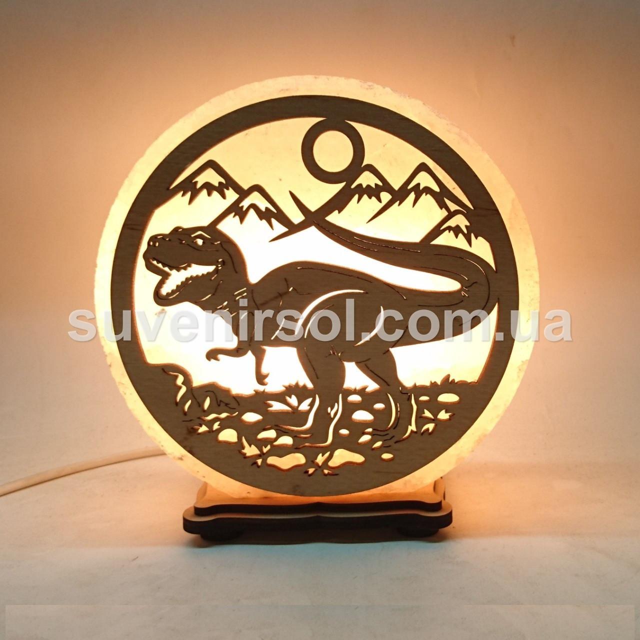 Соляной светильник круглый Динозавр