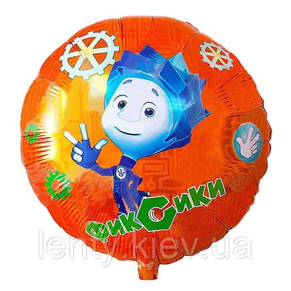 """ФОЛЬГОВАНІ КУЛІ КРУГЛІ """"фиксики"""" Нулик -18""""(45 СМ) помаранчевий фон"""